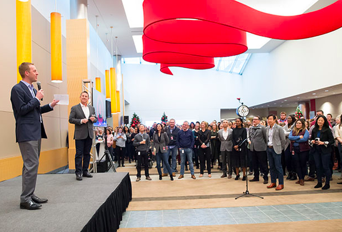 Shipt CEO and founder Bill Smith stands onstage at Target's Minneapolis HQ to talk to the team about the acquisition