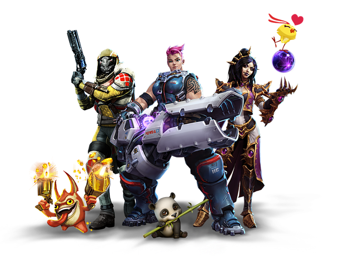 Characters from Activision Blizzard games (Skylanders, Destiny, Overwatch, World of Warcraft, and Candy Crush) standing together.