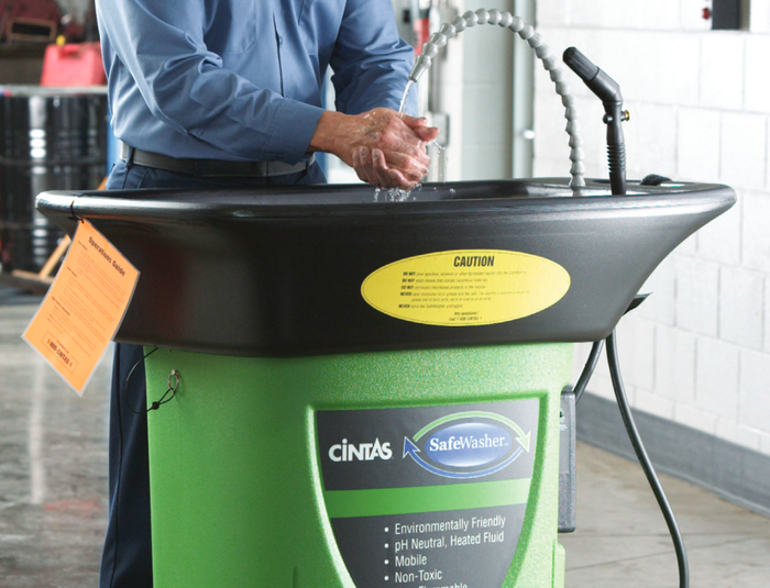 Cintas-branded portable safety washing system.