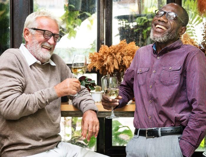 Seniors enjoying a drink