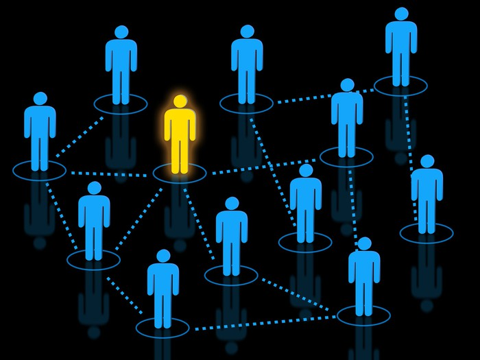 illustrated diagram of cluster of people connected by dotted lines, with one person glowing yellow