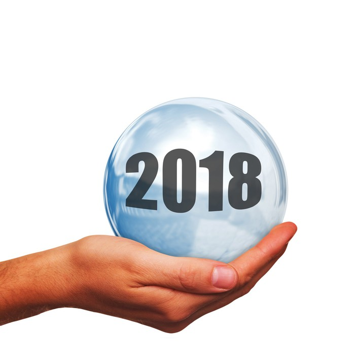 """Person's palm-up hand holding a crystal ball with """"2018"""" written on it."""