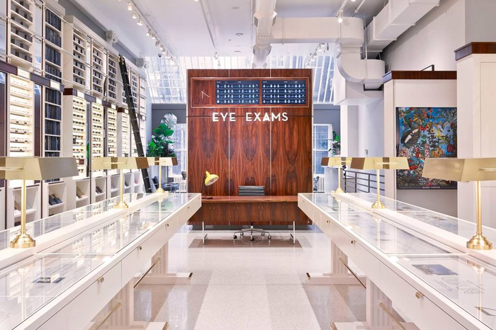 The interior of a Warby Parker store.