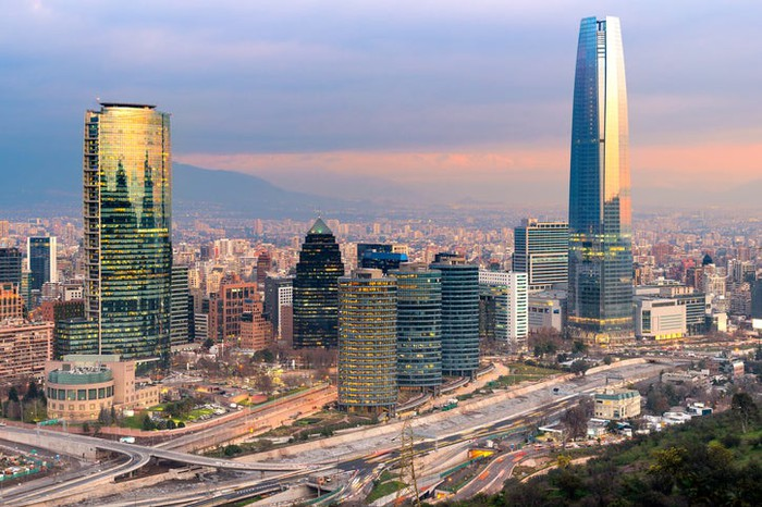 The skyline of Santiago at sunset.