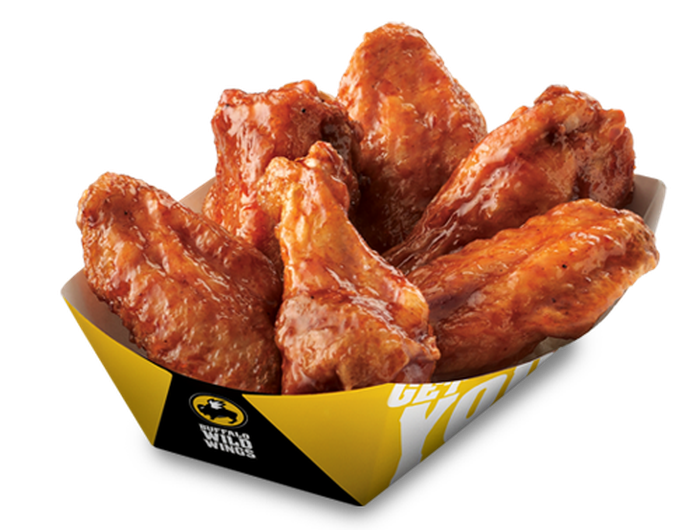 A basket of traditional bone-in chicken wings spun in BBQ sauce from Buffalo Wild Wings.