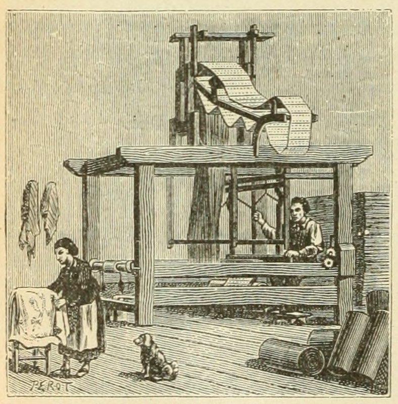 Illustration of a Jacquard loom