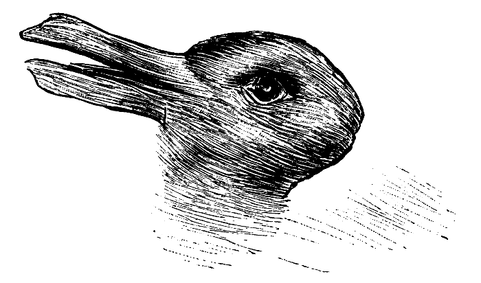 A drawing that appears like a rabbit horizontally left to right, but if you look at it diagonally, the ears look like a bill and the image looks like a duck.