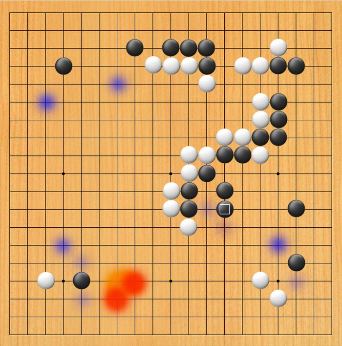 A board with stones on it and red, orange, and purple colors overlaid on several spots