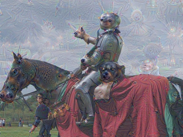 A knight riding a horse. The sky, horse, and knight are filled with hallucinogenic features such as resemblances of sea creatures.