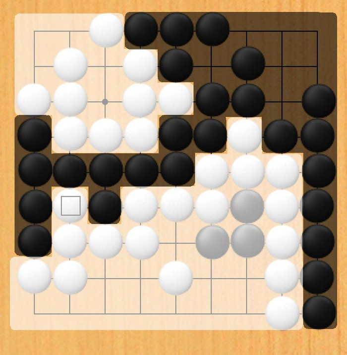 Go board with white's and black's respective territory shaded their respective colors