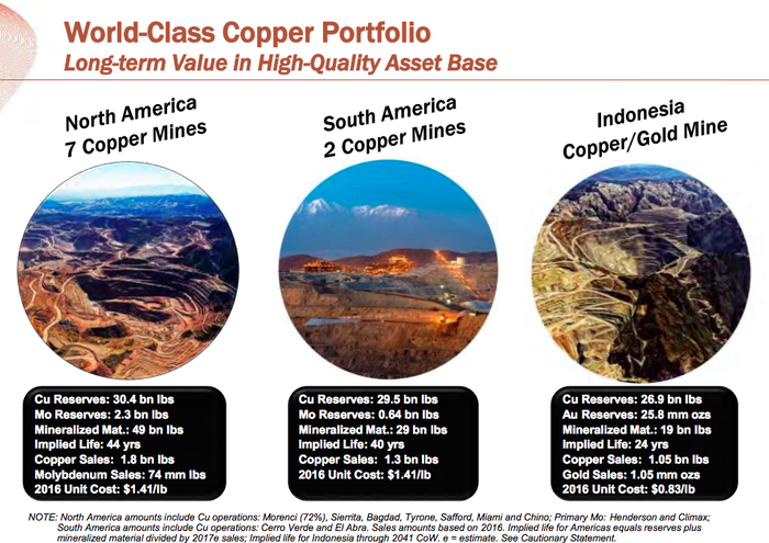A list of Freeport-McMoRan's largest assets, showing that Grasberg represents about 30% of its copper reserves and all of its gold reserves