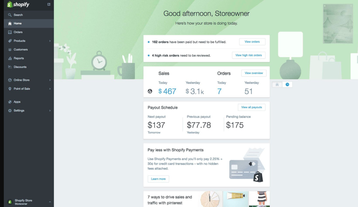 Shopify image that shows what the platform looks like for a merchant