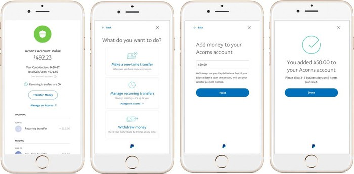 Four smartphone screen images showing various aspects of the Acorns investing app.