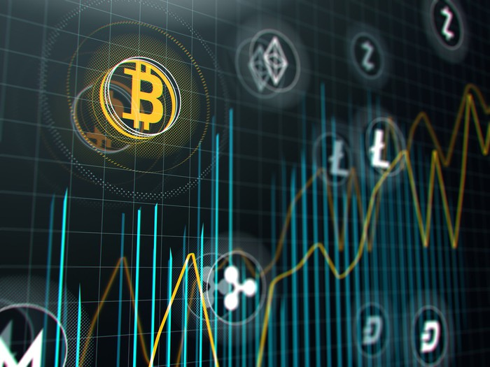 Cryptocurrency stock market graph on virtual screen.