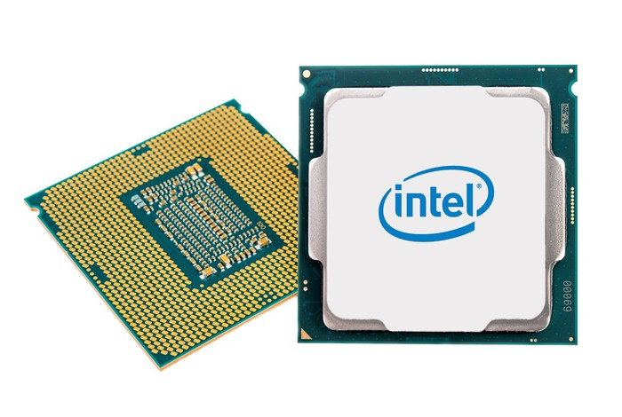 An Intel desktop processor front (on the right) and back (on the left).