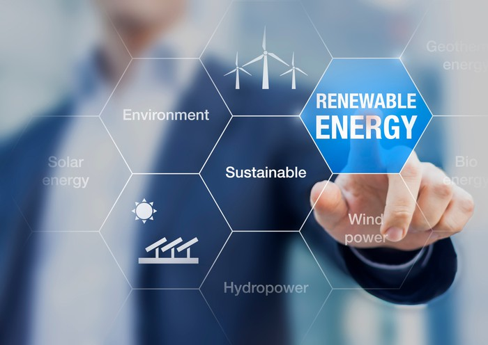 "A hand touches the words ""renewable energy"" on a virtual screen"