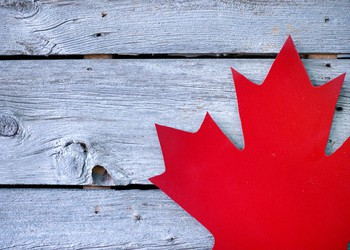 Cutout Red Canadian Maple Leaf on Picnic Table