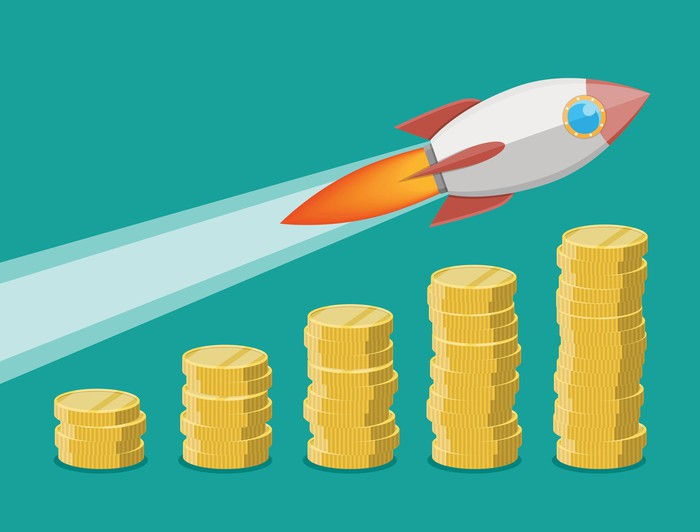 A cartoon of a rocket ship soaring over increasingly taller columns of coins.