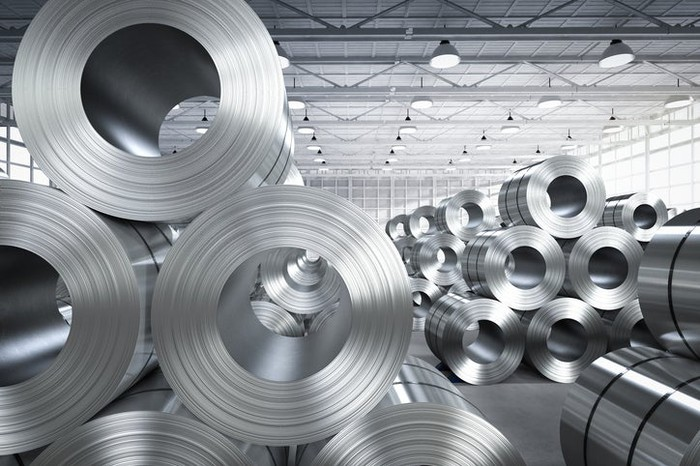 Rolled aluminum products in a warehouse.