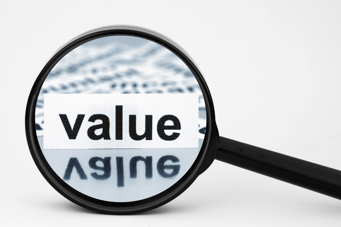 "Magnifying glass placed over the word ""value"""