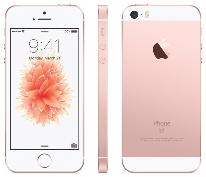 The front, side, and back views of Apple's iPhone SE.