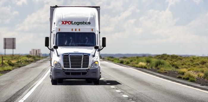 XPO Logistics tractor trailer.