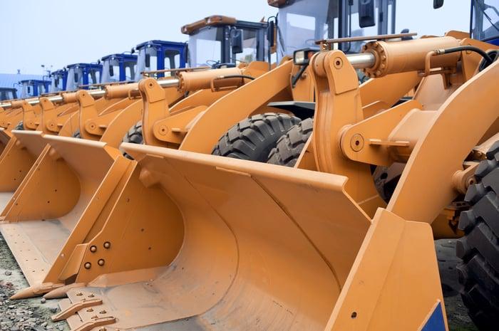 Excavators lined up