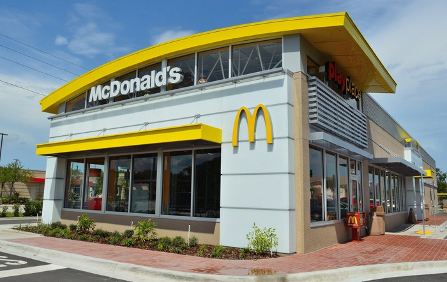 The facade of a McDonald's restaurant.