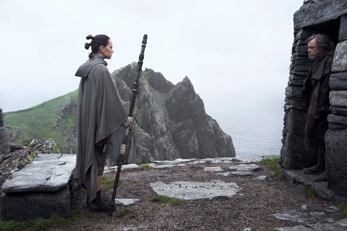 """Rey finds Luke Skywalker in the film """"The Last Jedi"""""""