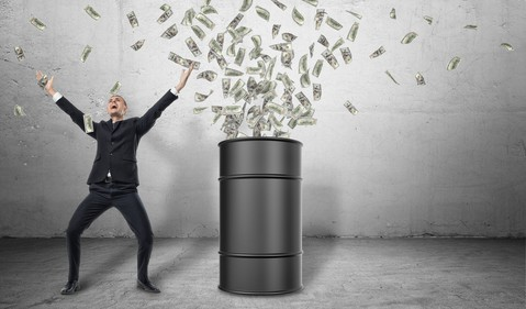 Getty Oil Drum Exploding Money with Happy Man
