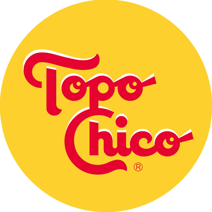 Topo Chico logo: red stylized cursive on round yellow background.