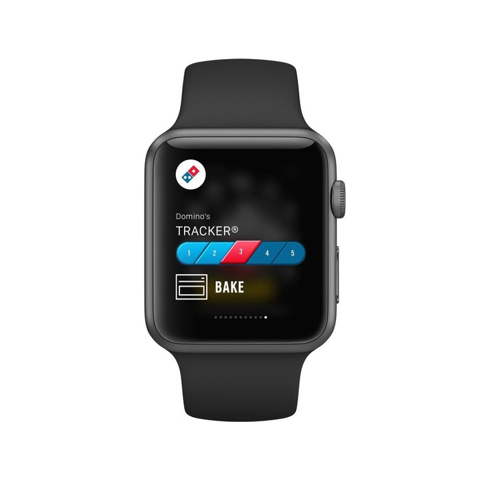 A smartwatch displaying Domino's app