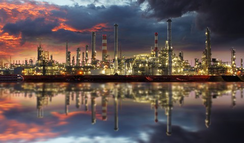 Getty Oil Refinery at Twilight