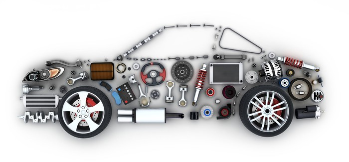 An abstract of a car made up of auto parts
