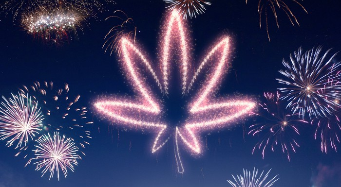 Fireworks show with fireworks shaped like marijuana leaf