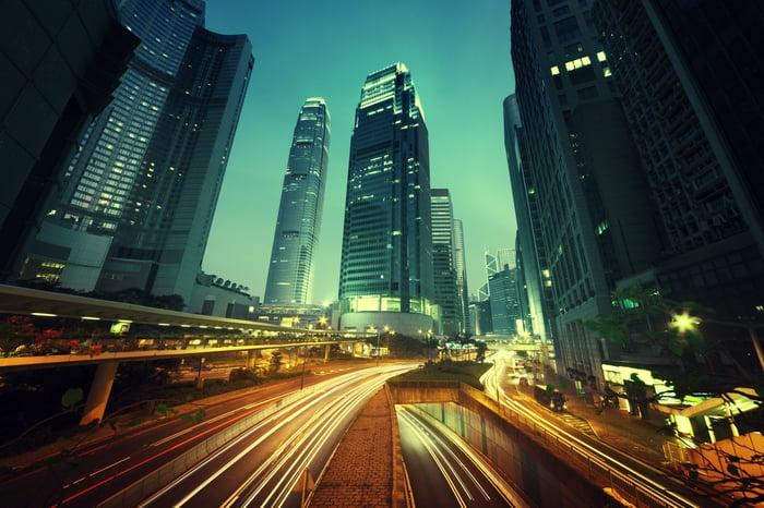 Traffic in Shanghai at dusk