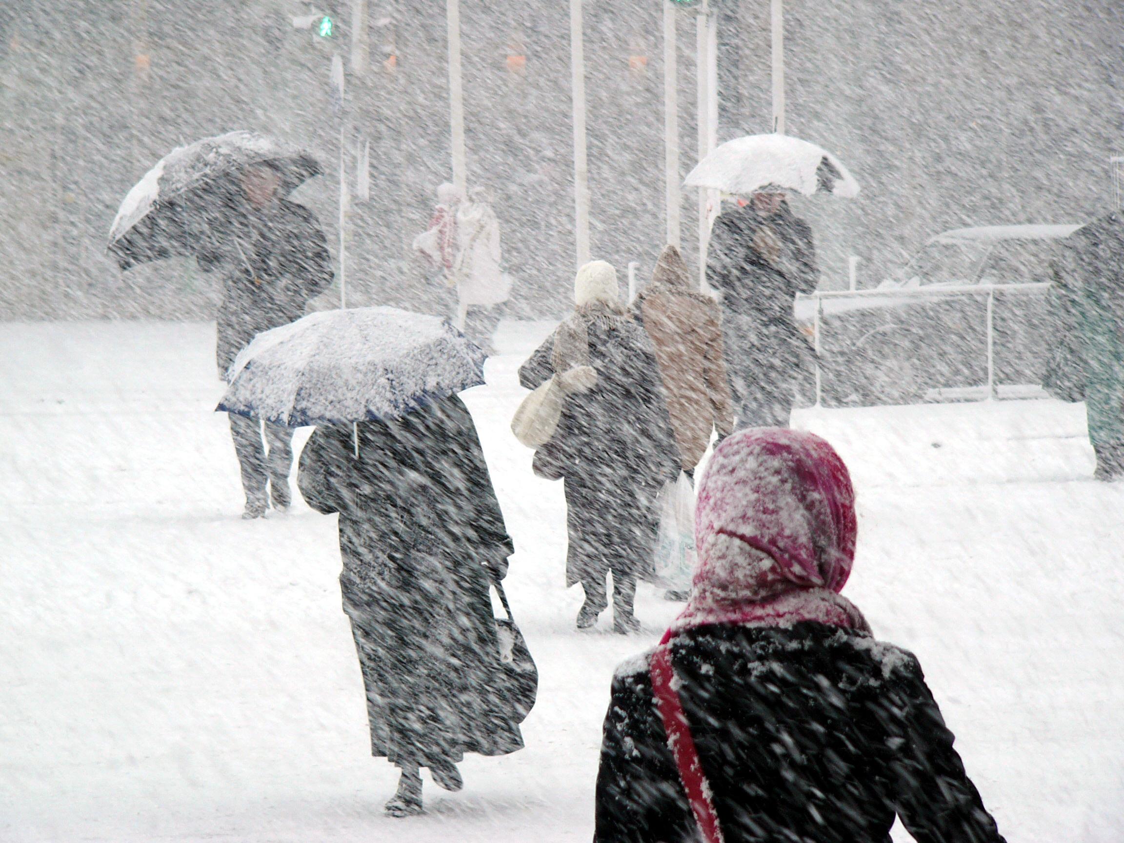 People walking in a snowstorm