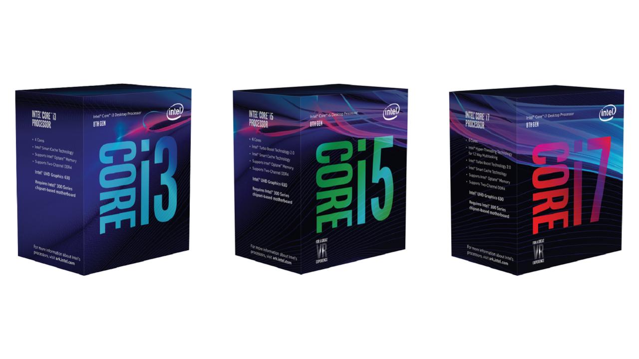 Boxed Intel Core i3, i5, and i7 processors.