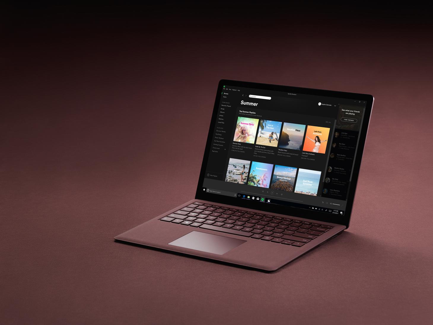 Spotify on a Windows laptop.