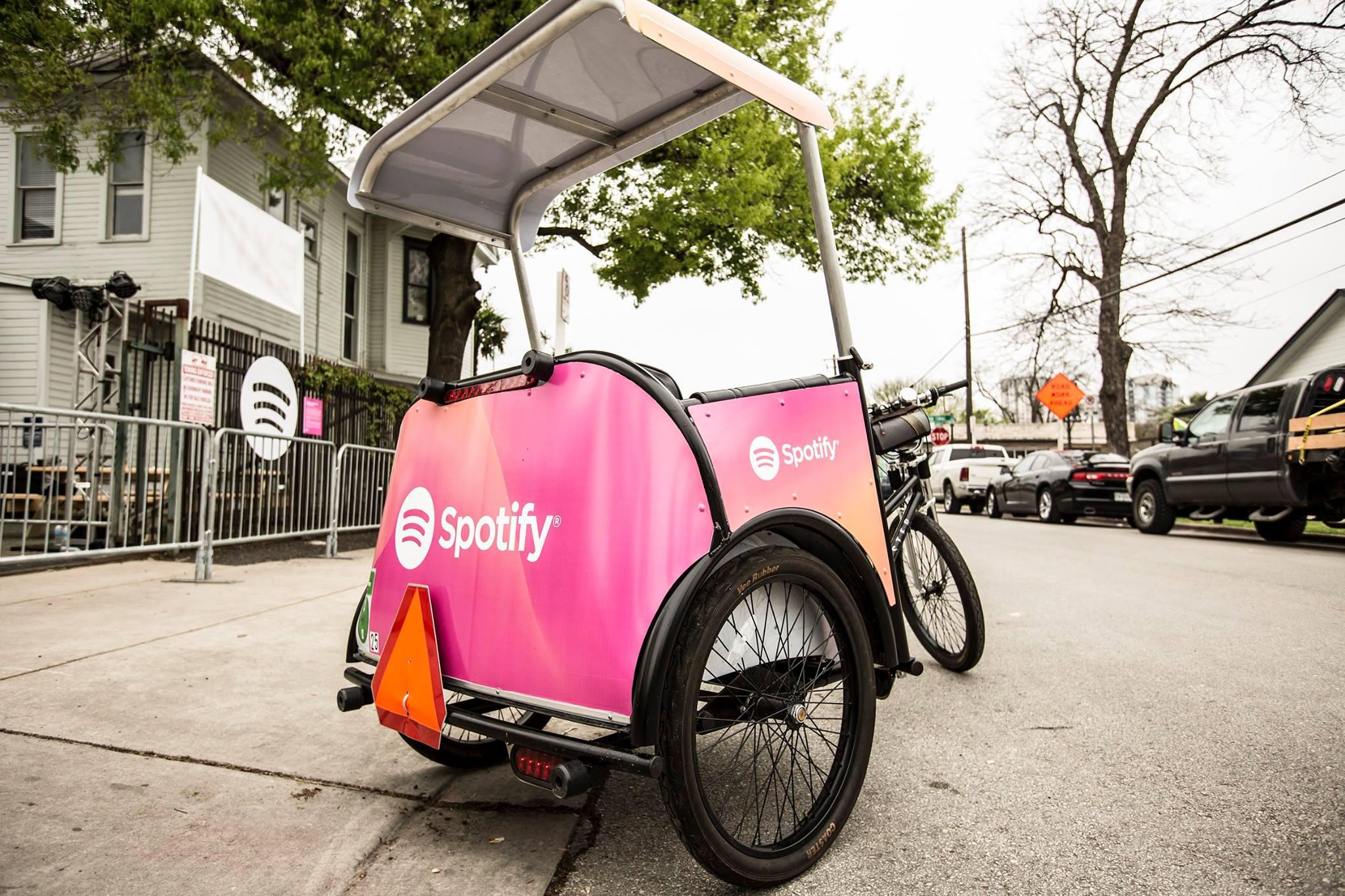 A Spotify branded pedicab.