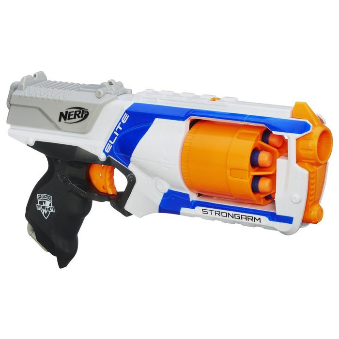 A Nerf N-Strike Elite Strongarm Blaster.