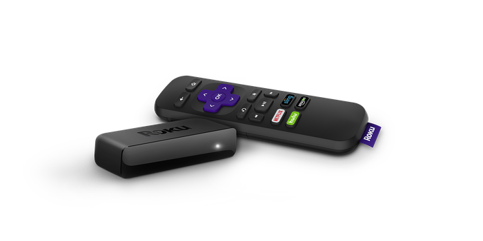 A Roku streaming player and remote.