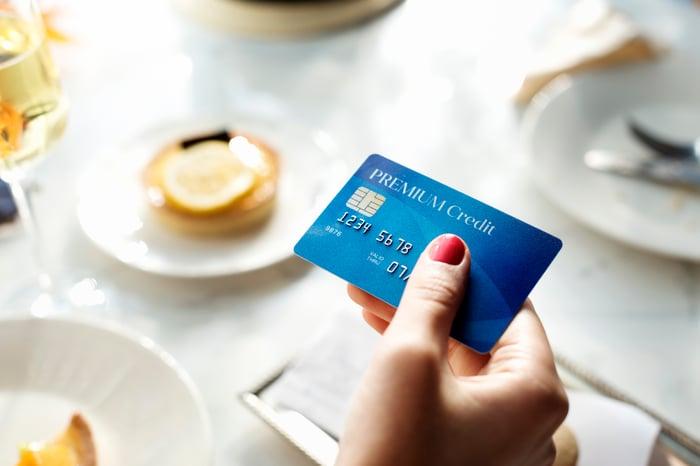 Hand holding premium credit card