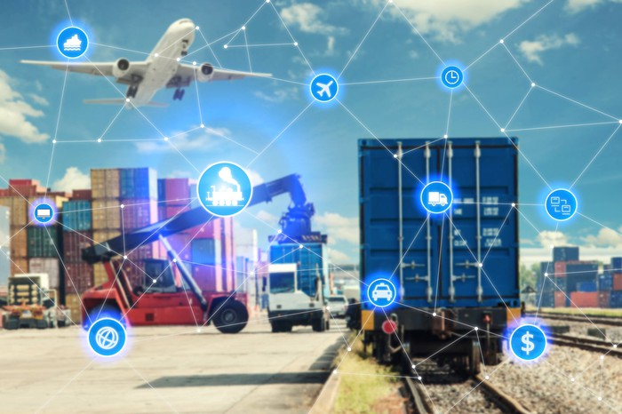 Computerized picture of several vehicles including a train, a plane taking off, and a garbage truck all interconnected via mutliple points.