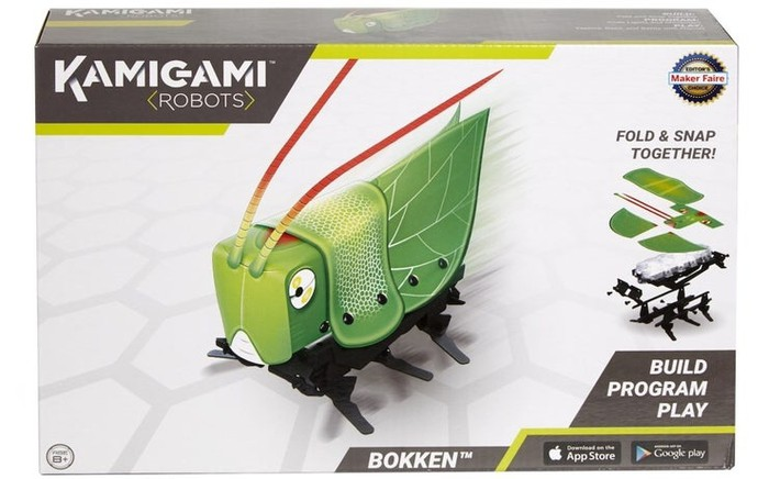 "Mattel ""Kamigami"" robotics kit packaging featuring robotic grasshopper."