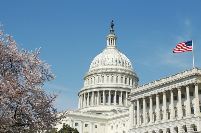 A view of Capitol Hill in Washington, D.C. on a bright, sunny day.