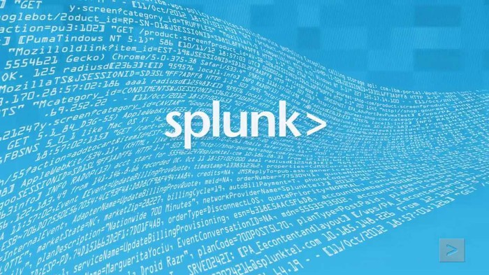 Splunk logo in white letters with abstract text machine data on a blue background.