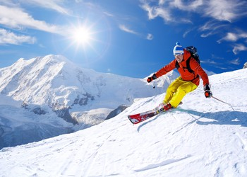 Man Skiing on a Mountain