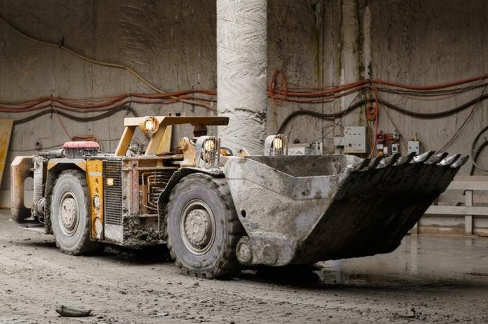 An underground mine vehicle.
