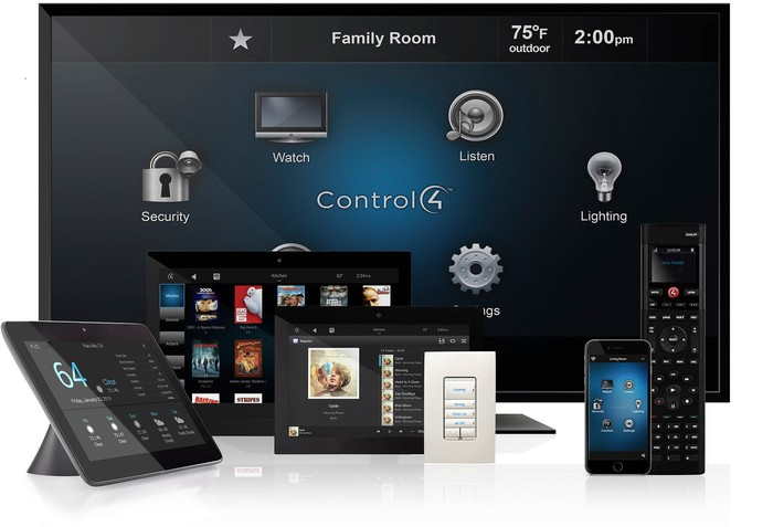 Control4 interfaces on multiple devices including a TV, tablets, smartphone, and remote